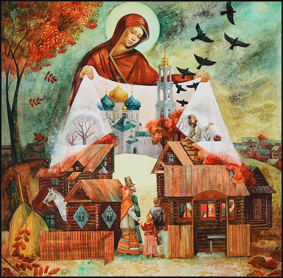 Покров пресвятой богородицы в рисунке