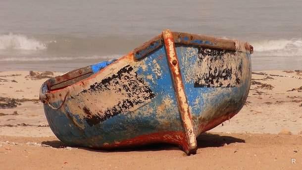 лодку прибило к берегу