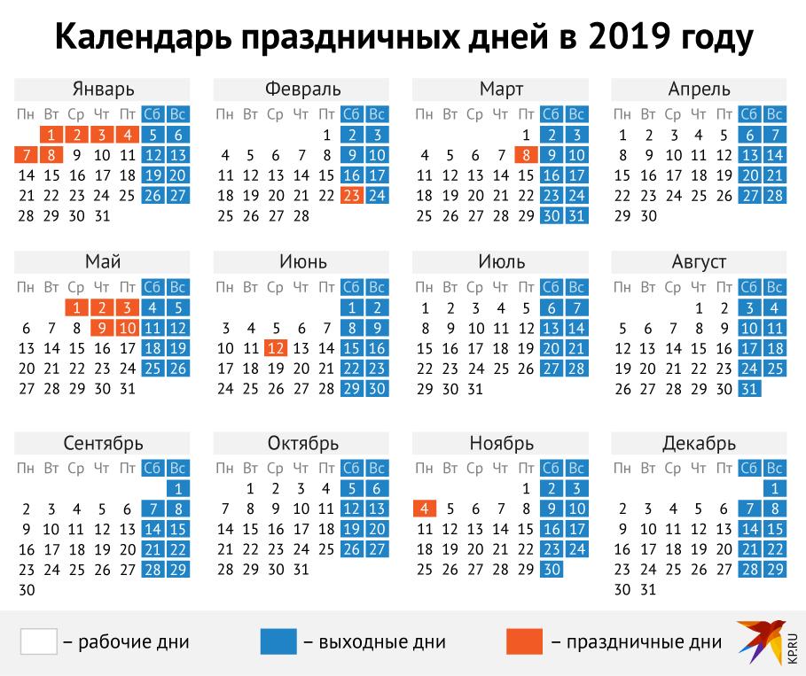 календарь производственный 2019 сокращенные рабочие дни