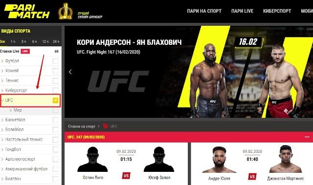поединки UFC