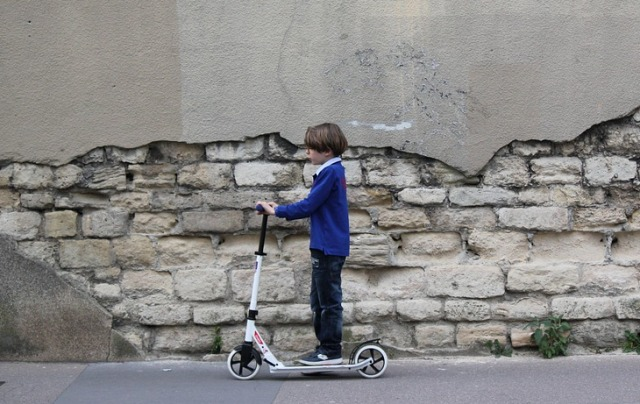Boy, Child, Wall, Scooter, Paris