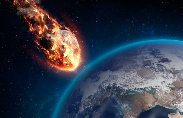 падающий астероид