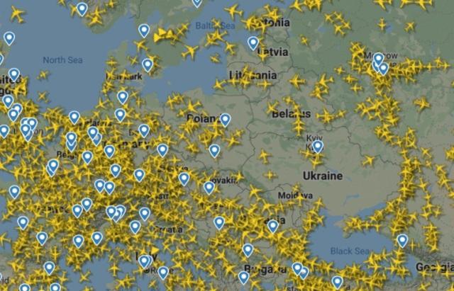 полетная карта Европы